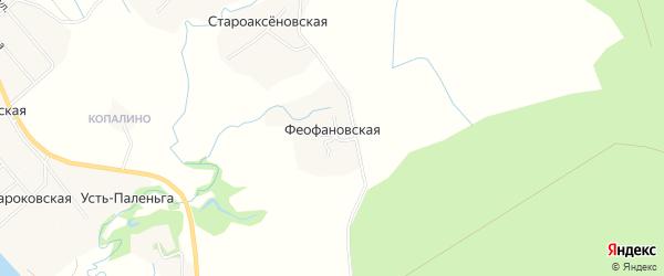 Карта Феофановской деревни в Архангельской области с улицами и номерами домов