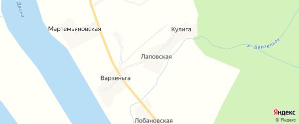 Карта Лаповской деревни в Архангельской области с улицами и номерами домов
