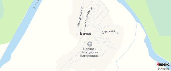 Карта деревни Бычьего в Архангельской области с улицами и номерами домов