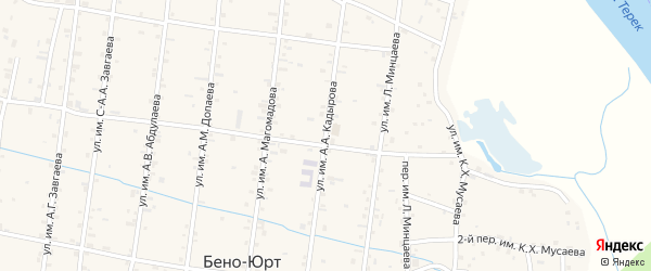 Улица А.А.Кадырова на карте Братского села с номерами домов