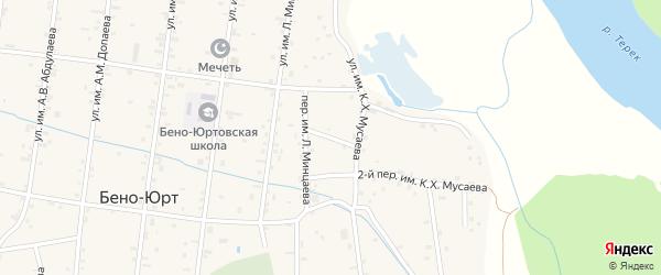 Им К.Х.Мусаева 1-й переулок на карте села Бено-Юрт с номерами домов