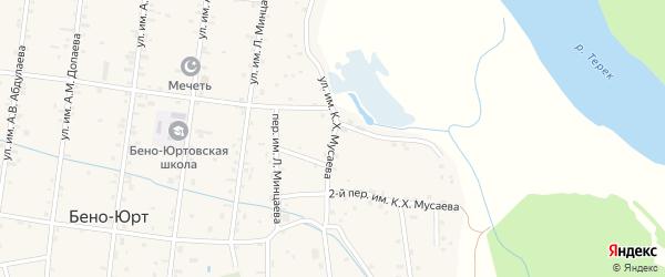 Улица Им К.Х.Мусаева на карте села Бено-Юрт с номерами домов