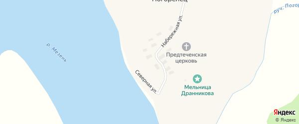 Северная улица на карте деревни Погорельца с номерами домов