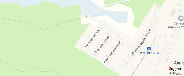 Пионерская улица на карте Авнюгского поселка с номерами домов