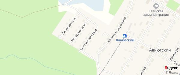 Комсомольская улица на карте Авнюгского поселка с номерами домов