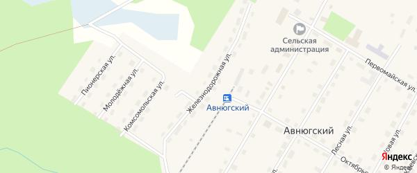 Железнодорожная улица на карте Авнюгского поселка с номерами домов