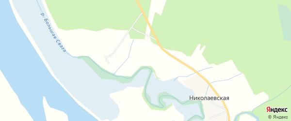 Карта Великопольской деревни в Архангельской области с улицами и номерами домов