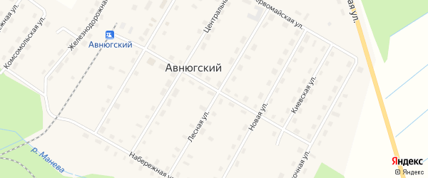 Октябрьская улица на карте Авнюгского поселка с номерами домов