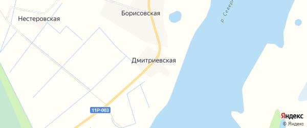 Карта Дмитриевской деревни в Архангельской области с улицами и номерами домов