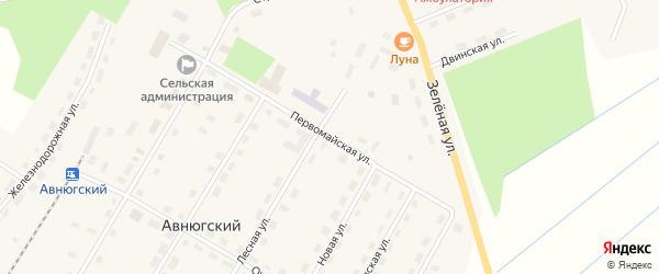 Первомайская улица на карте Авнюгского поселка с номерами домов
