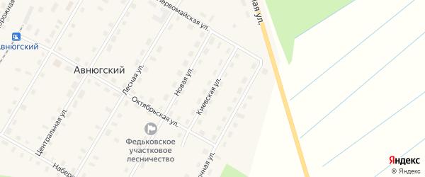 Киевская улица на карте Авнюгского поселка с номерами домов