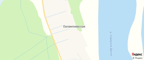 Карта Евлампиевской деревни в Архангельской области с улицами и номерами домов