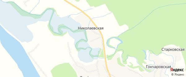 Карта Николаевской деревни в Архангельской области с улицами и номерами домов