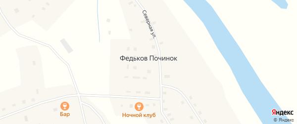 Кедровая улица на карте деревни Федькова Починка с номерами домов