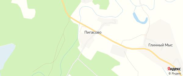 Карта деревни Пигасово в Архангельской области с улицами и номерами домов