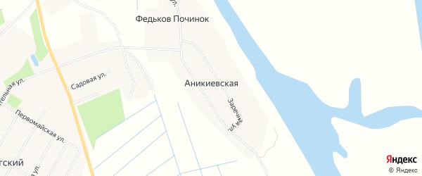Карта Аникиевской деревни в Архангельской области с улицами и номерами домов