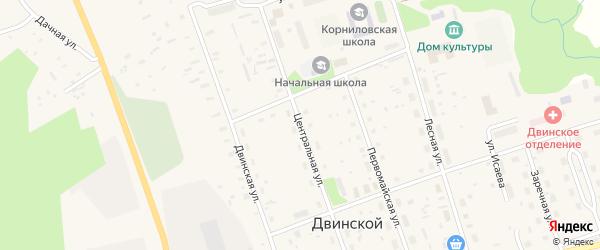 Центральная улица на карте Двинского поселка с номерами домов