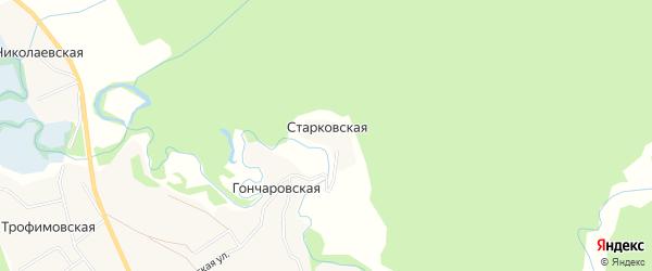 Карта Старковской деревни в Архангельской области с улицами и номерами домов