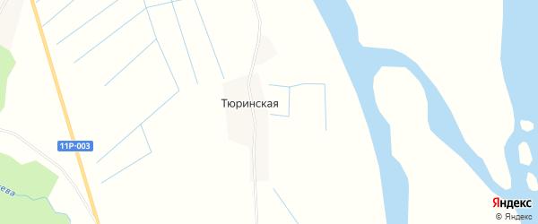 Карта Тюринской деревни в Архангельской области с улицами и номерами домов