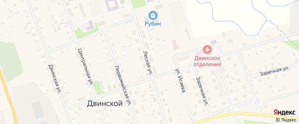 Лесная улица на карте Двинского поселка с номерами домов