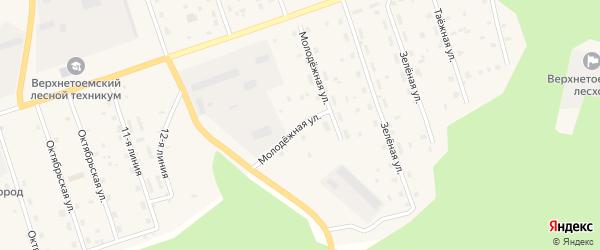 Молодежная улица на карте Двинского поселка с номерами домов