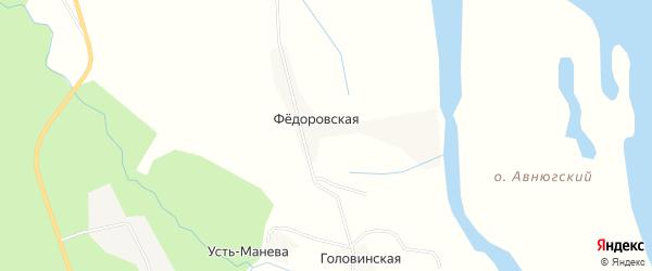 Карта Федоровской деревни в Архангельской области с улицами и номерами домов