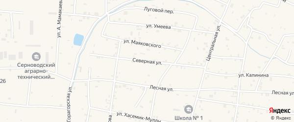 Северная улица на карте Гвардейского села с номерами домов