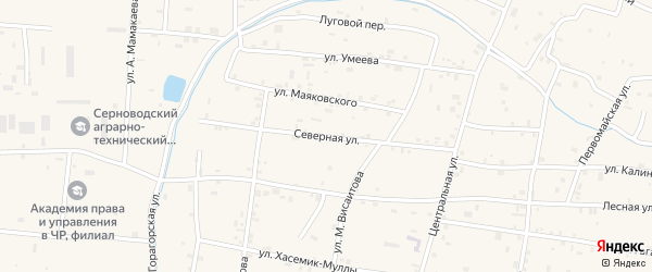 Северная улица на карте Знаменского села с номерами домов