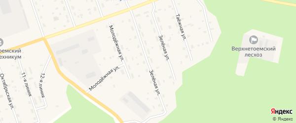 Зеленая улица на карте Двинского поселка с номерами домов