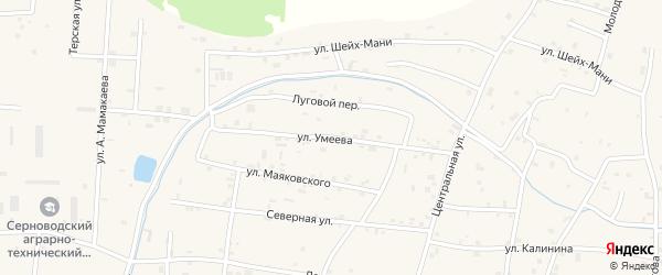 Улица В.Умеева на карте Знаменского села с номерами домов
