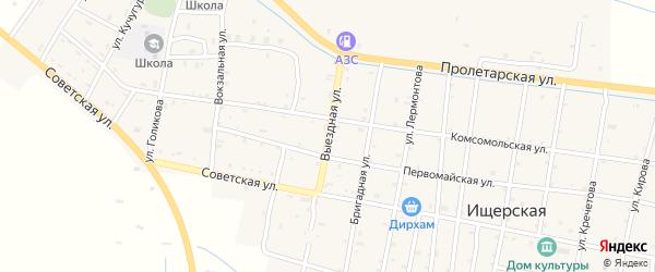 Выездная улица на карте Ищерской станицы с номерами домов