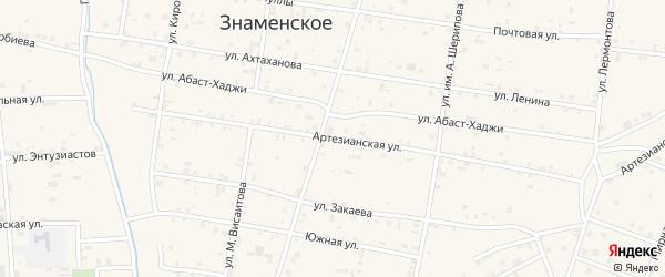 Артезианская улица на карте Знаменского села с номерами домов