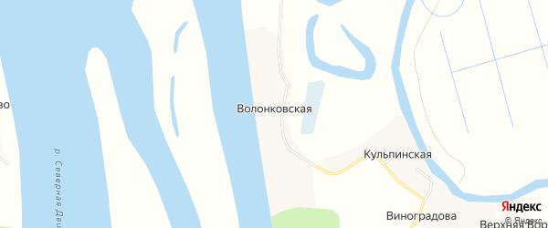 Карта Волонковской деревни в Архангельской области с улицами и номерами домов