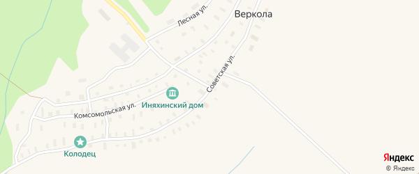 Улица Федора Абрамова на карте деревни Веркола с номерами домов