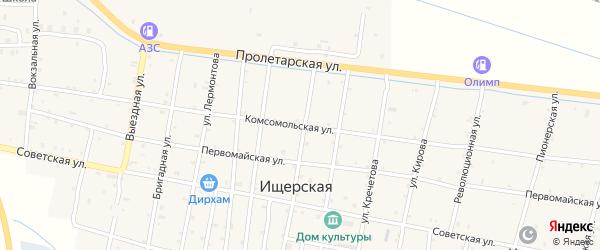 Комсомольская улица на карте Ищерской станицы с номерами домов