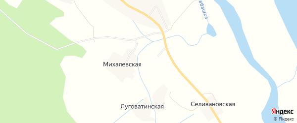 Карта Учиновской деревни в Архангельской области с улицами и номерами домов