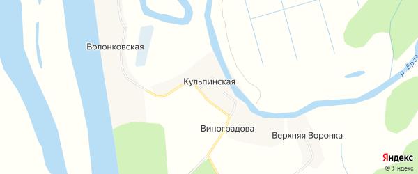 Карта Кульпинской деревни в Архангельской области с улицами и номерами домов