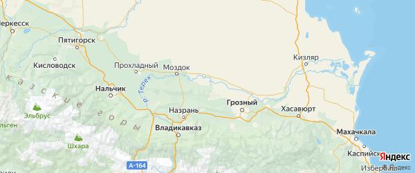 Карта Надтеречного района республики Чечня с городами и населенными пунктами