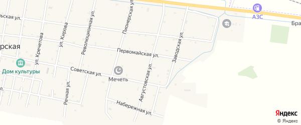 Августовская улица на карте Ищерской станицы с номерами домов