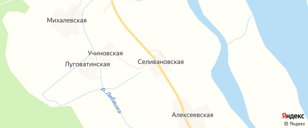 Карта Селивановской деревни в Архангельской области с улицами и номерами домов