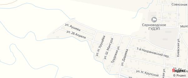 Молодежный переулок на карте Серноводского села с номерами домов