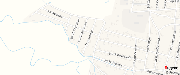 Трудовая улица на карте Серноводского села с номерами домов