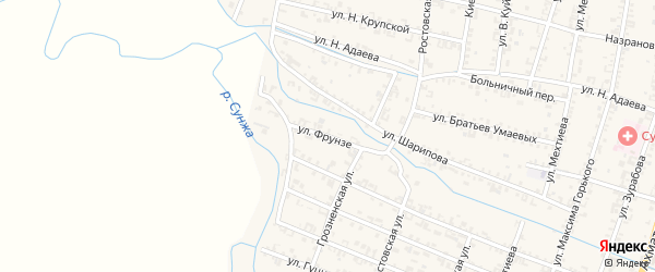 Улица Фрунзе на карте Серноводского села с номерами домов