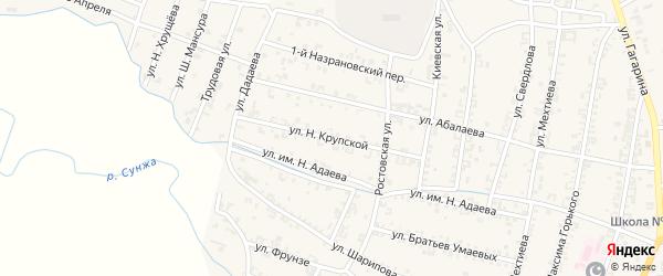 Улица Крупской на карте Серноводского села с номерами домов