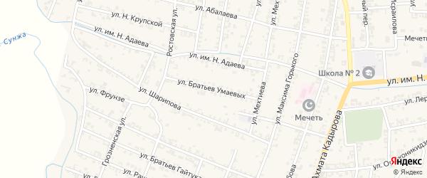 Улица Братьев Умаевых на карте Серноводского села с номерами домов