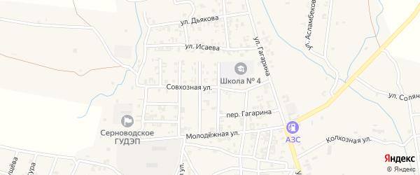 Совхозная улица на карте Серноводского села с номерами домов