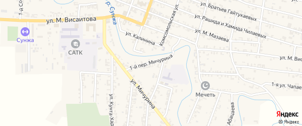 Переулок 1-й Мичурина на карте Серноводского села с номерами домов