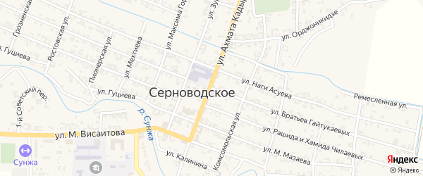 Улица Братьев Гайтукаевых на карте Серноводского села с номерами домов