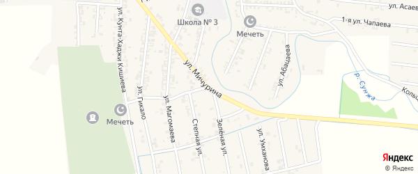 Зеленая улица на карте Серноводского села с номерами домов