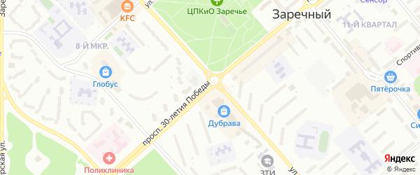 Проспект 30-летия Победы на карте Заречного с номерами домов